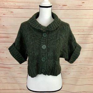 Daytrip Green Marled Cropped Shrug Sweater